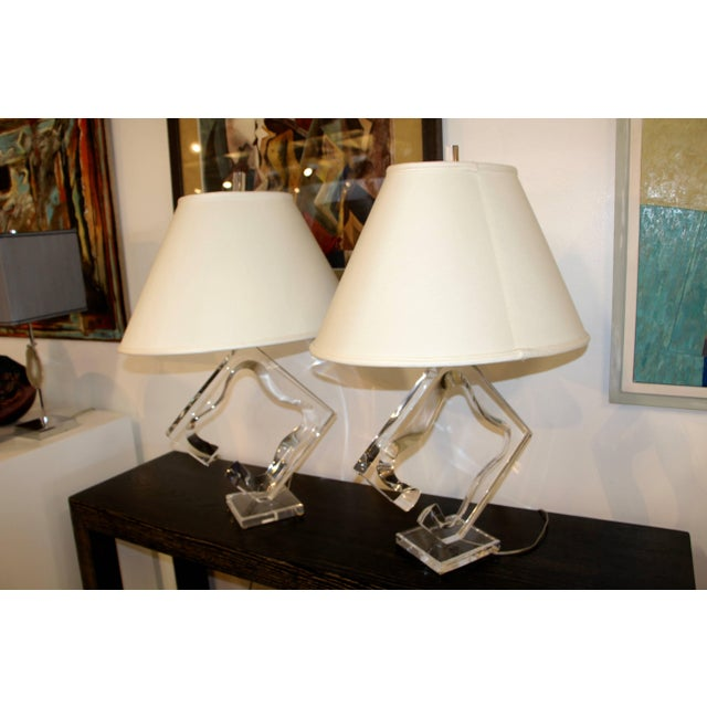 Mid 20th Century Van Teal Lucite Lamps- A Pair For Sale - Image 5 of 5
