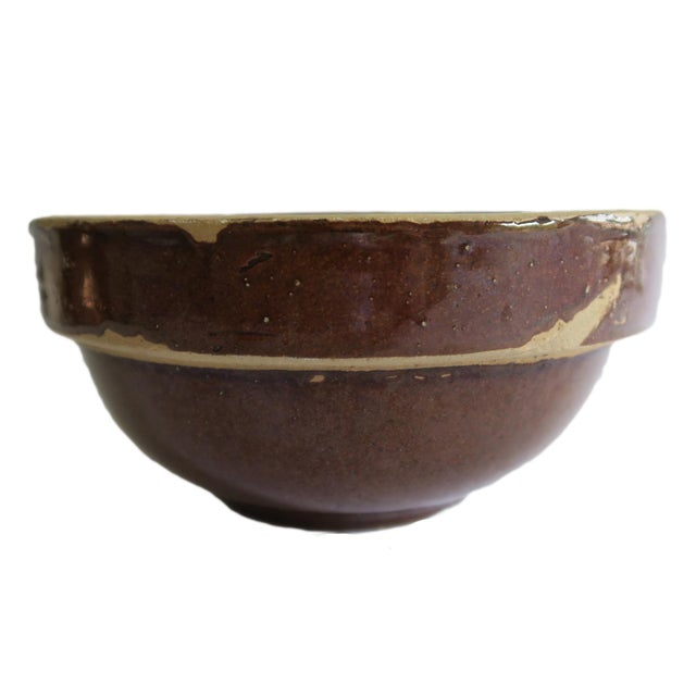 Farmhouse Antique Small Brown Stoneware Earthenware Crock Farmhouse Round Bowl For Sale - Image 3 of 5