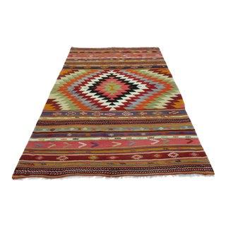 "Turkish Handmade Wool Kilim Rug-6'8'x9"" For Sale"