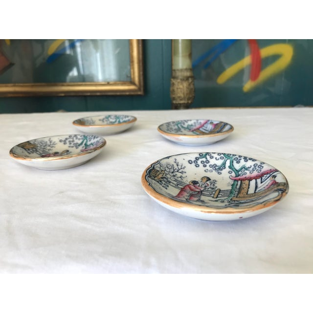 Chinoiserie Sushi / Soy Sauce Dish, Set of 4 For Sale - Image 10 of 11