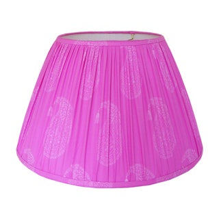 Small Fuchsia Block Print Gathered Lamp Shade For Sale