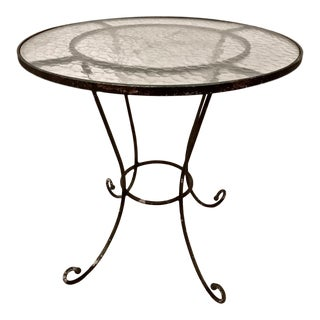 20th Century French Iron and Glass Bistro Table For Sale