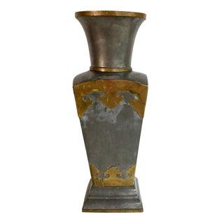 Vintage Asian Pewter & Brass Vase For Sale