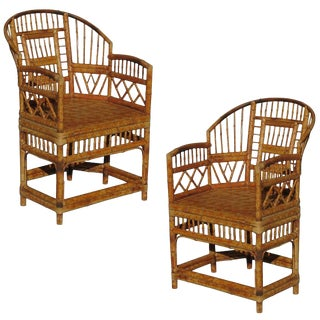 """Brighton"" Tiger Bamboo Armchairs - A Pair"