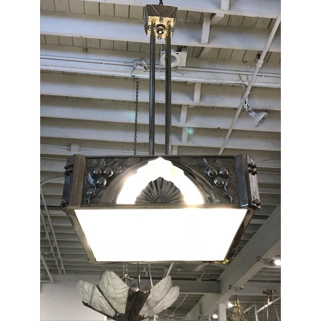 French Art Deco Square Geometric Chandelier For Sale - Image 11 of 13