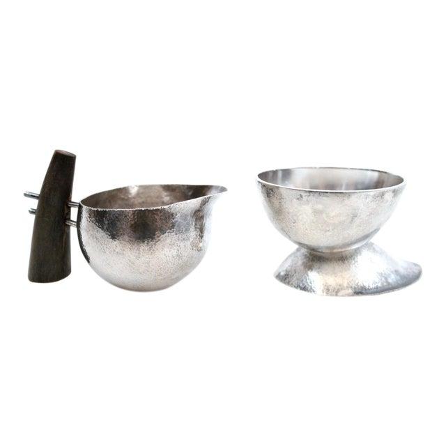 Sculptural Modernist Sterling Creamer and Sugar Bowl For Sale