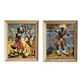 Pair of Vintage Tribal Illustration on Board For Sale