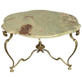 19th Green Onix Clover Form Top and Bronze Legs Coffee Table For Sale