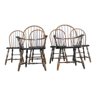 Set of 6 Pine Hoop Back Windsor Ethan Allen Style Chairs For Sale