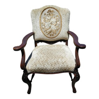 1960s Vintage French Country Mahogany Arm Chair For Sale