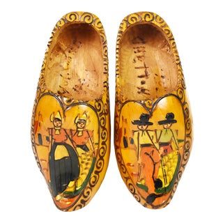 1950s Dutch Handmade Handpainted Wooden Clogs Shoes Wall Hanging Decor - a Pair For Sale