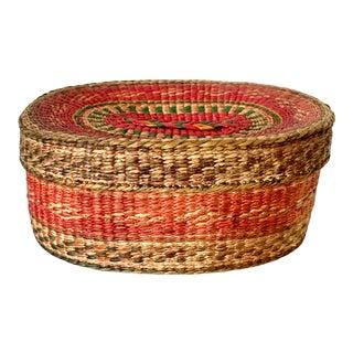Vintage Red and Green Lidded Basket For Sale