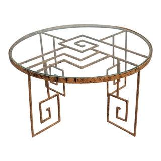 1930s Vintage Art Deco Gilt Metal / Glass Coffee Table For Sale