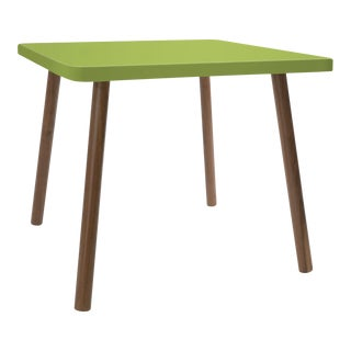 "Tippy Toe Small Square 23.5"" Kids Table in Walnut With Green Finish Accent For Sale"