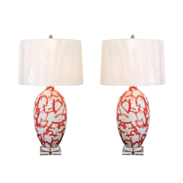Graphic Pair of Large-Scale Ceramic Vessels as Custom Lamps For Sale - Image 11 of 11