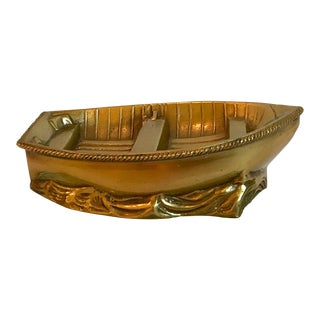 Vintage Brass and Glass Boat Paperweight For Sale