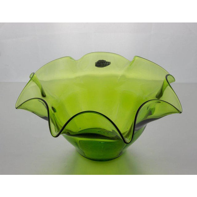 Green Blenko Fluted Fruit Bowl - Image 2 of 11
