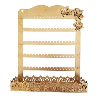 Mid 20th Century Vintage MCM Metallic Gold Floral Jewelry Rack Organizer For Sale