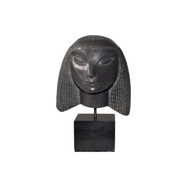 Vintage Fred Press Eygptian Female Sculpture - Image 1 of 10