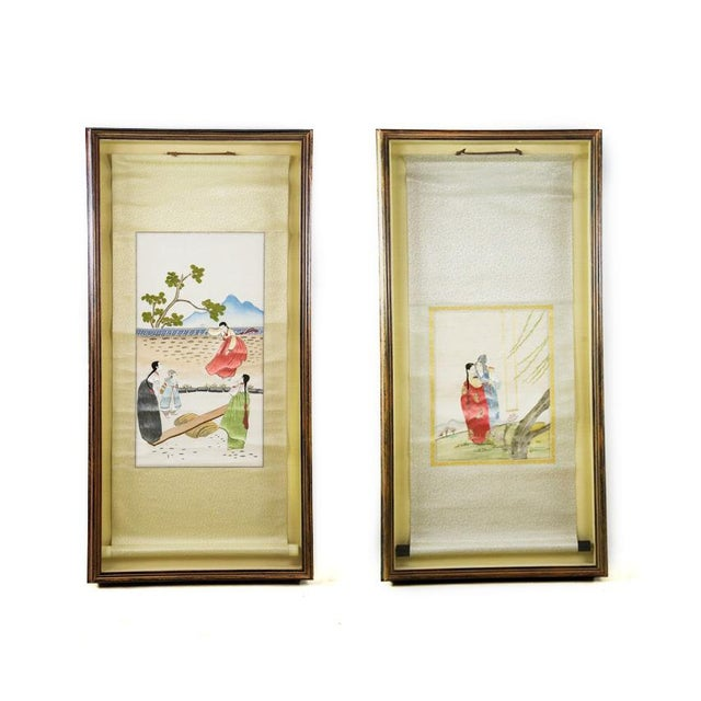 Korean Silk Embroidered Scrolls - A Pair For Sale - Image 11 of 11