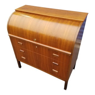Sweden Mid Century Waterfall Front Mahogany Desk For Sale