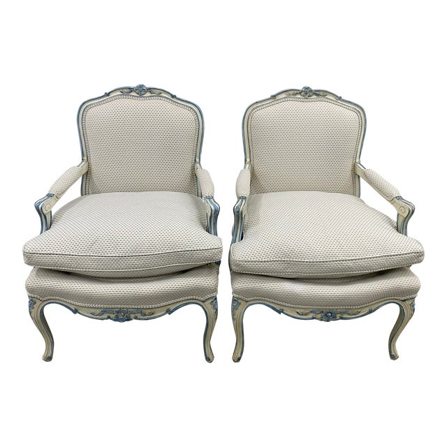Pair of French Style Carved & Upholstered Arm Chairs C.1940s For Sale