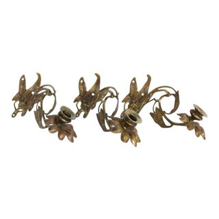 Art Nouveau Morning Glory Candle Sconces - Set of 3 For Sale