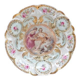 Late 20th Century RS Pussia Antique Porcelain Bowl With Handpainted Women and Cherub For Sale