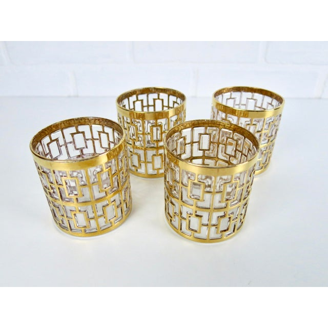 "Set of 4 Rare 2.75"" Imperial Glass 24k Gold Shoji Cocktail Glasses - Image 2 of 7"