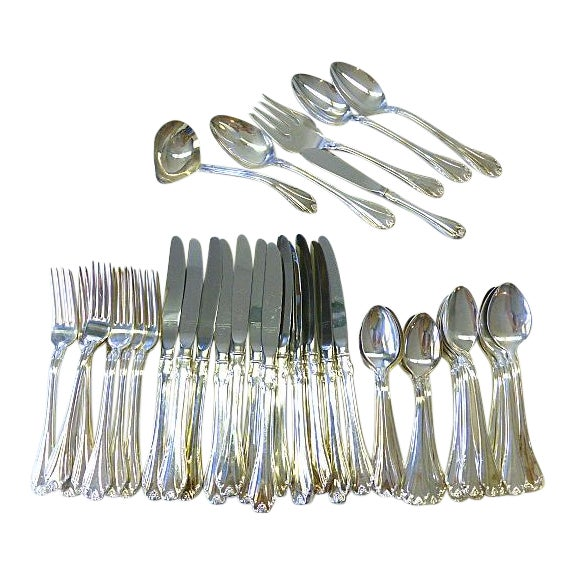 1988 Reed & Barton Country Charm Shell Kings Set for 12+ Silverplate Flatware - 54 Pieces For Sale