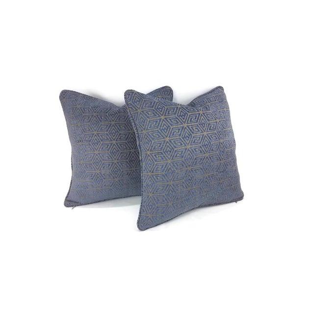 "Boho Chic F. Schumacher ""Cosmati"" Chenille Ultramarine Pillow Cover - 20"" X 20"" For Sale - Image 3 of 5"