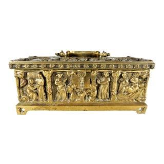 Vintage Brass Relic Casket Box Repose Figures For Sale
