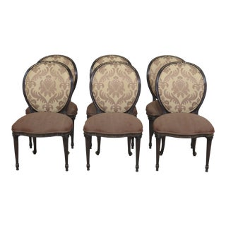 Modern Ej Victor Medallion Back Dining Room Chairs- Set of 6 For Sale