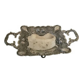 Vintage 1930'sShabby Cottage Silver Tray For Sale