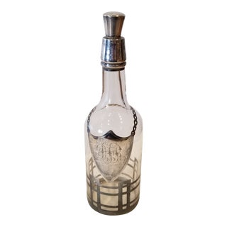 Sterling Silver Overlay Decanter For Sale