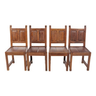 1920s Elizabethan Style Paneled Chairs - Set of 4 For Sale
