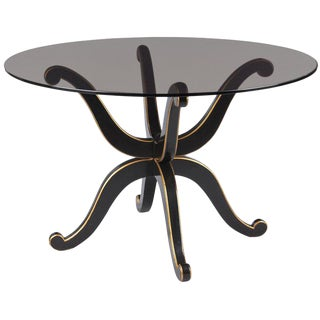 French Neoclassical Maurice Hirsch Glass Top Table with Ebonized Base, 1950s