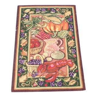 Vintage Fall Harvest in Maine Hooked Area Rug Wool Carpet American Folk Art For Sale