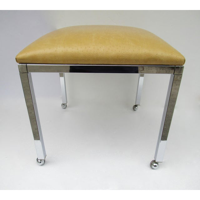 Mid-Century Milo Baughman Chrome Bench With Chrome Castors For Sale In West Palm - Image 6 of 13