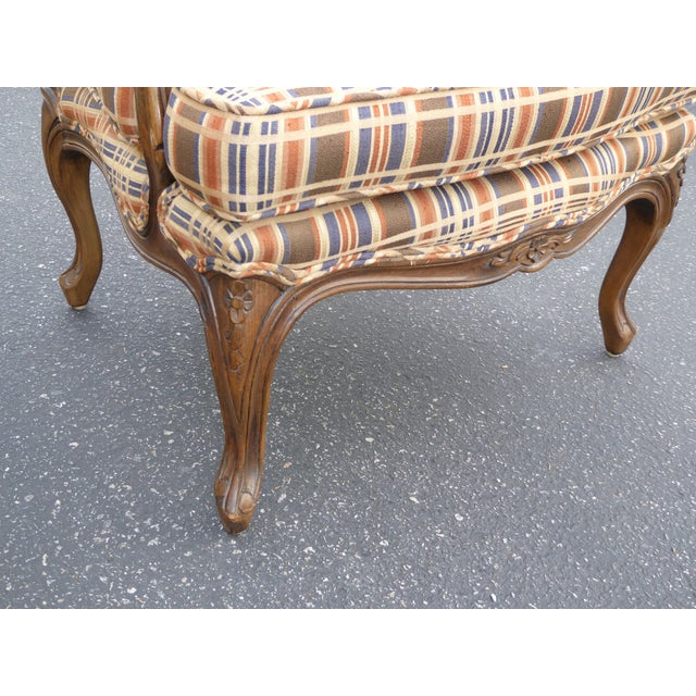 Vintage French Country Carved Wood Brown Orange Plaid Chairs - A Pair - Image 10 of 10