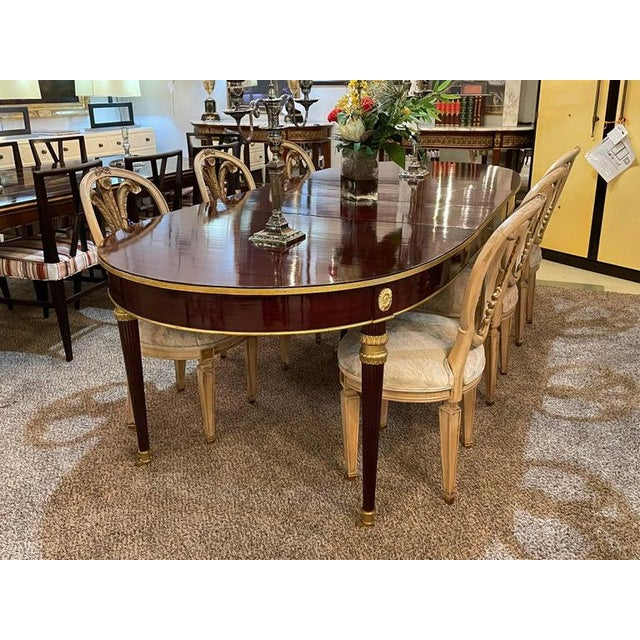 Louis XVI Maison Jansen Dining Table, Mahogany With Bronze Mounts, Four Leaves For Sale - Image 12 of 13