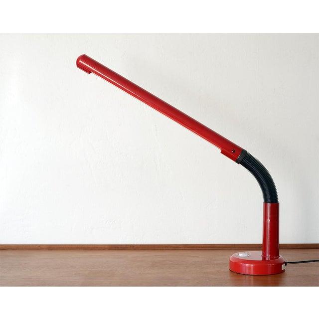 Plastic Late 20th Century Vintage Modern Red Plastic Gooseneck Fluorescent Desk Lamp For Sale - Image 7 of 12