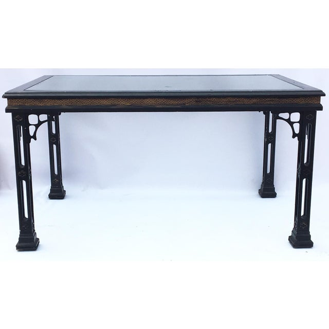 hollywood regency asian chinoiserie fretwork black dining table chairish. Black Bedroom Furniture Sets. Home Design Ideas