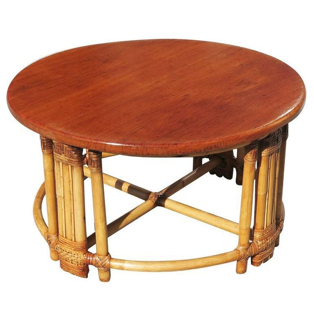 Restored Round Rattan Coffee Table With Mahogany Top and Fancy Wrapping - Image 2 of 5