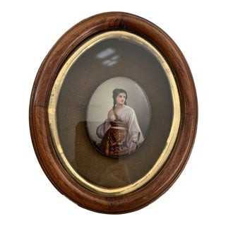 Antique Framed Hand Painted Porcelain Miniature Portrait Painting For Sale