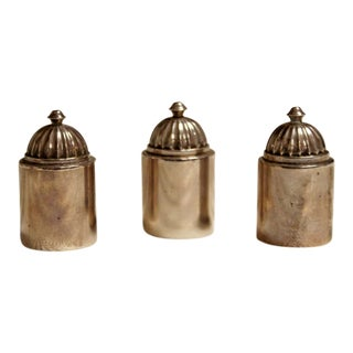 Art Nouveau Deco Georg Jensen Sterling Silver Salt Pepper Shakers 1940s - Set of 3 For Sale