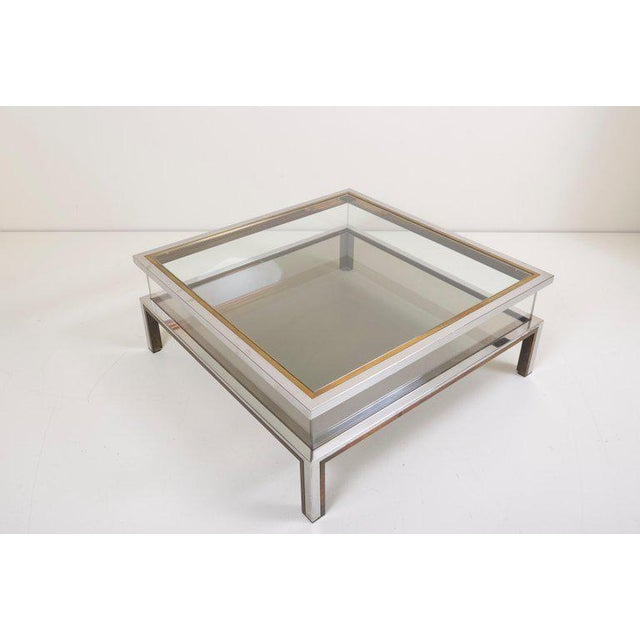 Maison Jansen Sliding Top Coffee Table in Brass and Chrome For Sale - Image 6 of 9