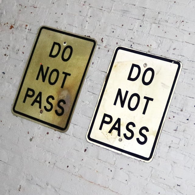 Vintage Do Not Pass Metal Traffic Signs For Sale - Image 6 of 13