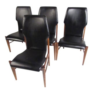 Mid-Century High Back Dining Chairs - Set of 4 For Sale