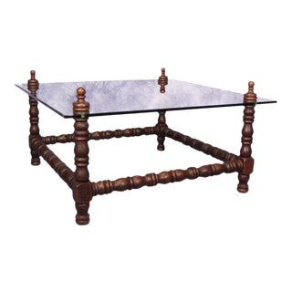 Baroque Turned Wood Glass Top Table For Sale